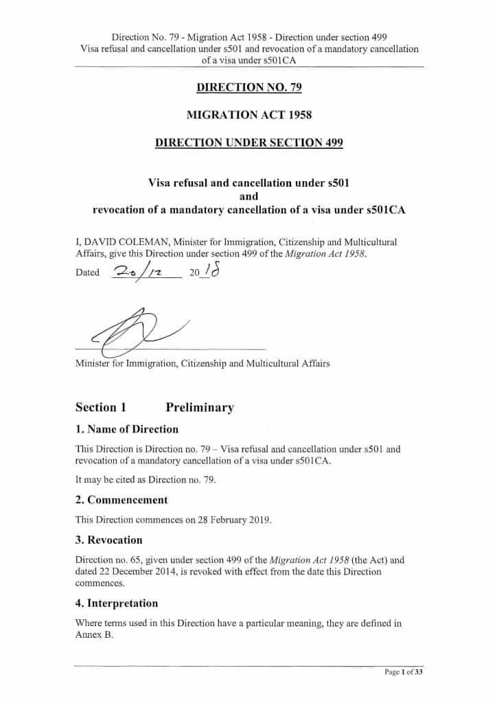 Ministerial Direction No 79 Visa Refusal and Cancellation for failing character test