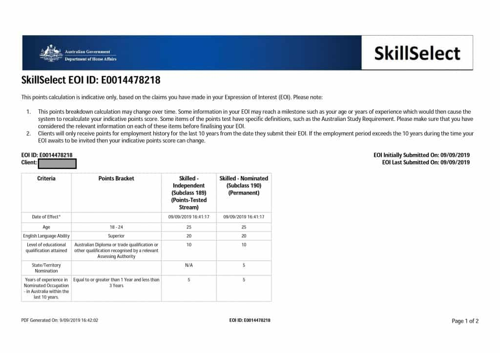 SkillSelect expression of interest for skilled migration